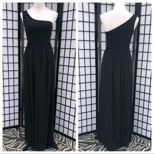 Trina Turk Black One Shoulder Chiffon Maxi Dress